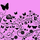 Butterflies, Insects - Pink and Black by sitnica