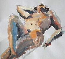 2008 Gouache Life Drawing Nude Female Study by Simon Collins