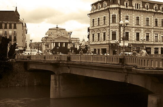 Oradea-view to the National Theater and Ferdinand Bridge by Gabriel Popa