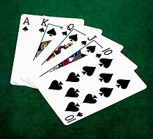 Poker Hands - Royal Flush Spades Suit by luckypixel