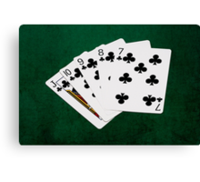 Poker Hands - Straight Flush Clubs Suit Canvas Print