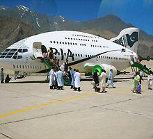 Pakistani Interstellar Airlines Arriving at The Moon Of Gilgit Prime in the Ashad Constellation by Kenny Irwin