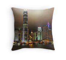 Hong Kong Island at night Throw Pillow