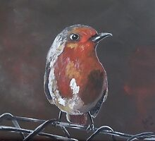 You talkin' to Me? - Little Bird on Fence by Julie Hollis