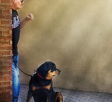A Man and his dog by Mike  Savad