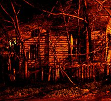 House (white picket fence) in the Red Night by Peter James
