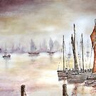 Herring boats on a misty dawn by Colin Cartwright