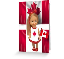 °♥ ˚ • ★PATRIOTIC DOLL WAVING HER FLAG FOR CANADA TRUE PATRIOT LOVE °♥ ˚ • ★ Greeting Card