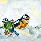 Birds In Snow In Germany by Goodaboom