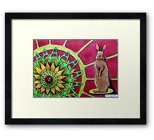 414 - FLOWER-LOVING BUNNY II - DAVE EDWARDS COLOURED PENCILS - 2015 Framed Print