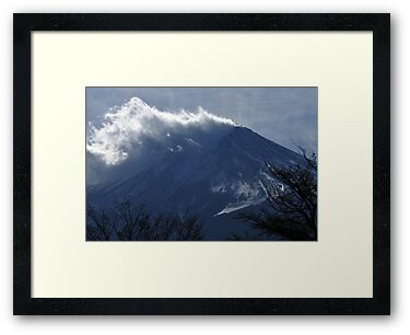 Wind blowing snow on Mount Fuji by Alfie Goodrich