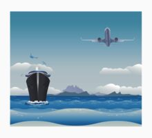 Big airplane in the sky and cruise liner in the sea Kids Clothes