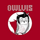Owlvis - Owl Illustration On a Red Background  by TsipiLevin