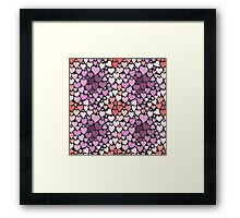 Abstract lilac hearts pattern Framed Print