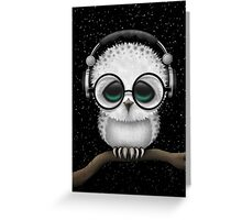 Baby Owl Dj with Headphones and Glasses Greeting Card