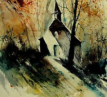 Old chapel after a painting by Camille Barthelemy by calimero