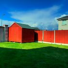 Red Suburban Shed by Mark O'Toole