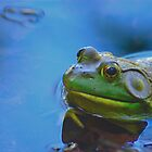 Bullfrog in lake by mseigafuse
