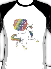 Haters gonna hate unicorn (blue background) T-Shirt