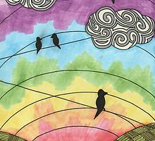 Birds on the wire 2 by WonkeyCreations