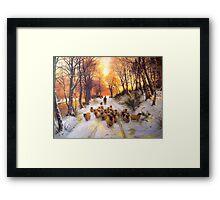Sheperd dog herding the flock oil painting reproduction of 18th centuary artist Framed Print