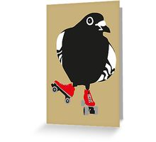 Roller skating pigeon Greeting Card