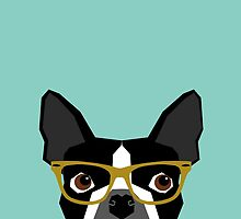 Darby - Boston Terrier pet design with hipster glasses in bold and modern colors for pet lovers by PetFriendly