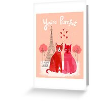 You're Purrfect - Cute pink cats in Paris for Valentines Day by Andrea Lauren Greeting Card