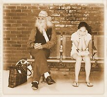 Albumen Effect Strangers at the Bus Stop  by andymars