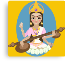 Hindu Goddess Saraswati. Vector hand drawn illustration. Canvas Print