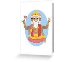 illustration of Hindu deity lord Brahma Greeting Card