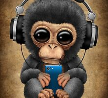 Chimpanzee Dj with Headphones and Cell Phone by Jeff Bartels