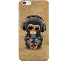 Chimpanzee Dj with Headphones and Cell Phone iPhone Case/Skin