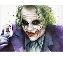 Joker Watercolor Portrait Photographic Print