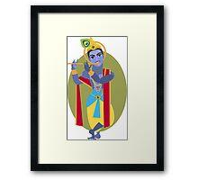 illustration of Hindu deity Lord Krishna flute Framed Print