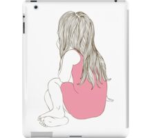 Little girl in a pink dress sitting back hair iPad Case/Skin
