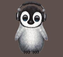 Cute Baby Penguin Dj Wearing Headphones Kids Clothes