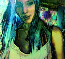 With blue hair she wonders by Arletta