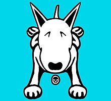 Cartoon English Bull Terrier Sprawl Tee  by Sookiesooker