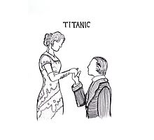 Titanic Jack and Rose Line Drawing Photographic Print