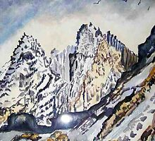 Scottish Mountain scene in winter landscape watercolour by coolart