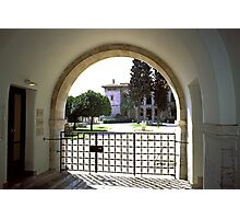 Museum Entrance with orange trees, Athens, Greece Photographic Print