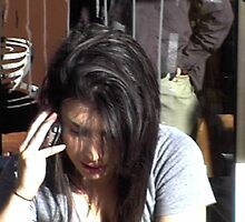chelsea on the phone at a cafe by alinedinoia