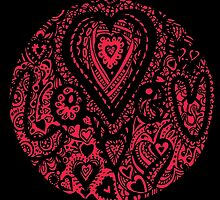 Valentine Circle of Hearts Black Surround Aussie Tangle - see Description Notes re Colours by Heatherian