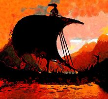 A Viking Longship at Sunset - all products except duvet by Dennis Melling