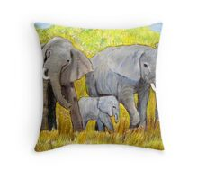 Out of Africa Elephant group acrylic painting by Coolart Throw Pillow