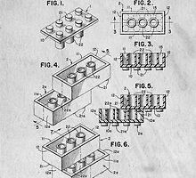 Lego original patent art for toy bricks by Edward Fielding