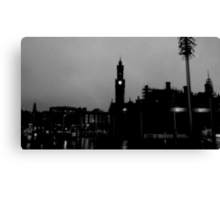 Black and White City Silhouette Canvas Print