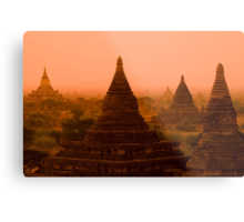 Stupas In The Mist Metal Print