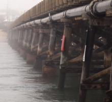 The Bridge and Pub in the Fog Sticker